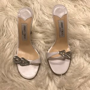 Jimmy Choo white rhinestone heel
